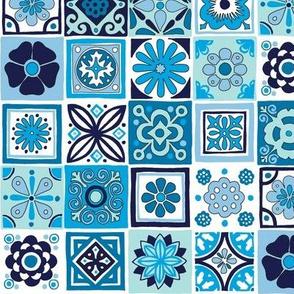 Talavera* (Blues) || Portugal Portuguese Mexican folk art tiles kitchen geometric flowers floral terra cotta