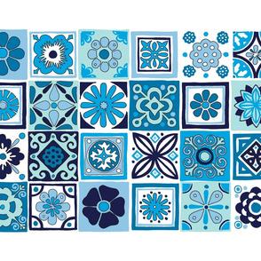 Talavera Tea Towel* (Blues) || Mexican folk art tiles kitchen cut and sew flowers geometric classic blue turquoise aqua portuguese Portugal