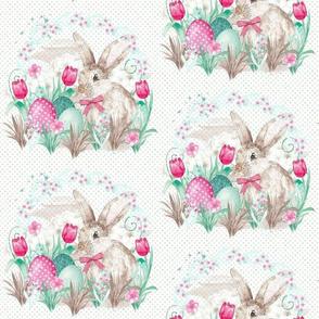 Happy Easter Watercolor Bunny Eggs Basket Spring Rabbit Tulips Floral