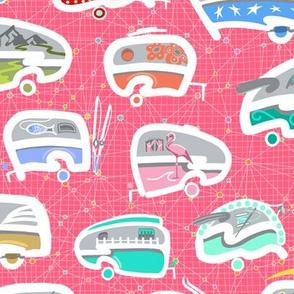 Vintage Kitschy Chick Campers   Multi / Pink