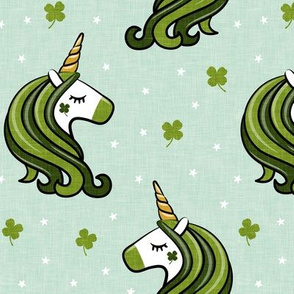"(4.5"" scale) St Patricks Unicorn - st patty's day unicorns - dark green on mint - LAD20BS"