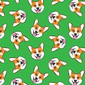 Corgi - cute dogs - Pembroke Welsh Corgi - green - LAD20