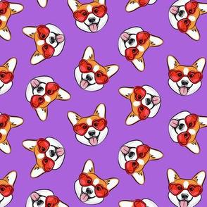 Corgi - Heart Shaped Glasses - Valentines Pembroke Welsh Corgi - purple - LAD20
