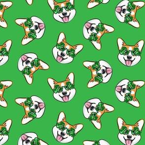 St Pattys Day Corgi - Green - Shamrock glasses - welsh corgi dog - green  - LAD20
