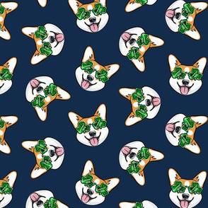 St Pattys Day Corgi - Green - Shamrock glasses - welsh corgi dog - navy - LAD20