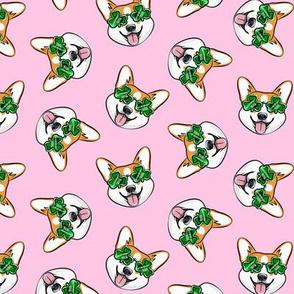 St Pattys Day Corgi - Green - Shamrock glasses - welsh corgi dog - pink - LAD20