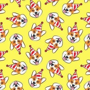 Party Corgi - Birthday Pembroke Welsh Corgi - yellow - LAD20