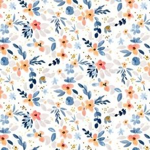 Fawn Floral blue peach white S