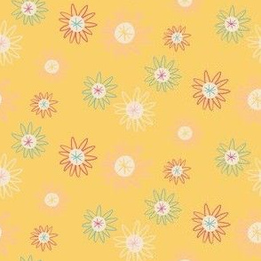 Yellow Ditsy Space Daisy