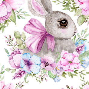 Watercolour Rabbit Bunny Floral