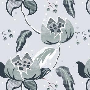 Vintage Floral grey blue