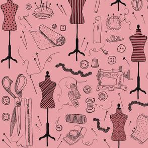 sewing vintage pink pattern