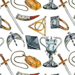 Watercolour Wizarding World Pattern 04 White - Triwizard Tournament Theme