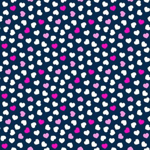 Pink And White Hearts On Navy Small