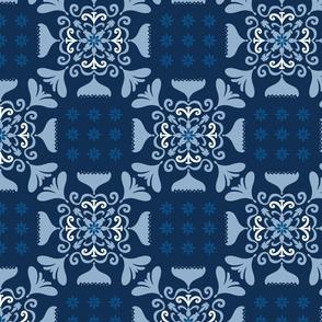 Folk Check - classic blue