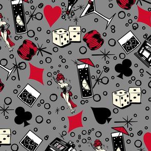 Viva Vegas Casino Retro Vintage Kitsch -Charcoal Gray