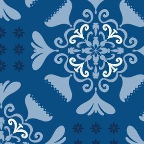 Folk Floral Tiles - classic blue