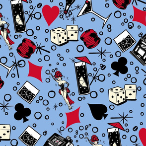Viva Vegas Casino Retro Vintage Kitsch - Periwinkle