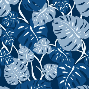 Hawaiian Monstera Leaves- Classic Blue
