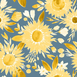 yellow sunflowers on  business blue