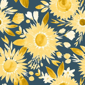 yellow sunflowers on muted navy blue