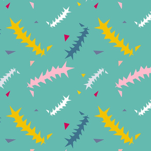 Banksia leaves abstract teal