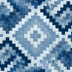 kilim rug design, large scale, blue