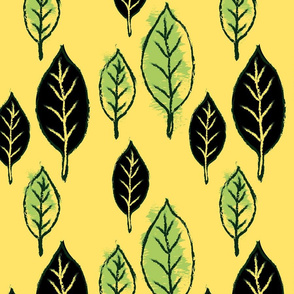 Charcoal Leaves Gold