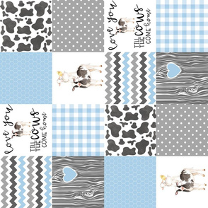 4.5 Inch Farm//Love you till the cows come home//Baby Blue - Wholecloth Cheater Quilt - Rotated