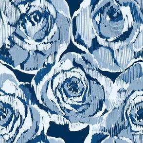 Ikat blue roses on Classic blue mini