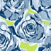 Ikat blue roses on lime