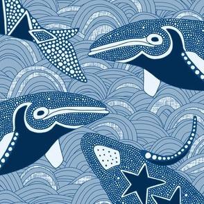 Alaskan whales classic blue