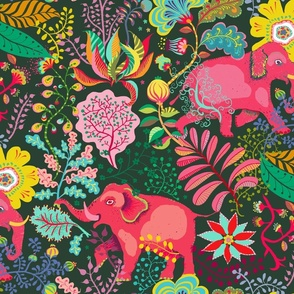 floral jungle elephants