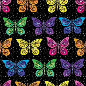 Butterfly Party - Black Background
