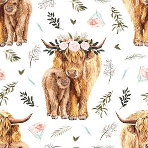 pink spring highland cow floral