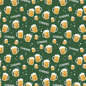 Cheers for beers party drinks St Patrick's Day traditional Irish beer holiday illustration kawaii design forest green stout