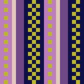 Jazzy Checked Stripes in Purple - Lilac - Pastel Olive Green - aka Lavender Fields