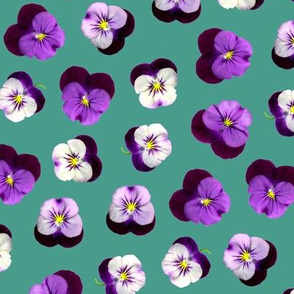 pressed flowers fabric - pansy fabric, viola fabric, purple floral fabric, pansies, violets, florals - green
