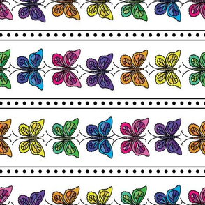 Butterfly Party Stripe - Horizontal