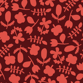 Folk Floral Cut Outs | Red + Wine