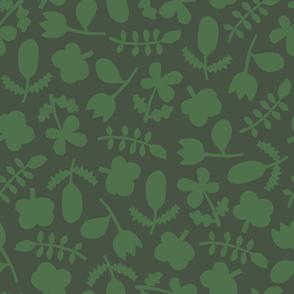 Folk Floral Cut Outs | Greens