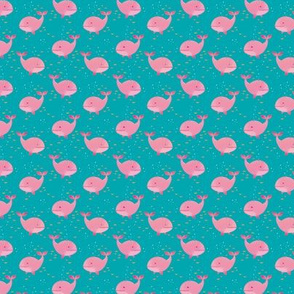 Whale Watching (pink whales on teal background, tiny scale)
