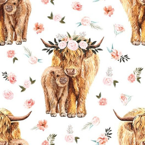 spring pink floral Scottish highland cow