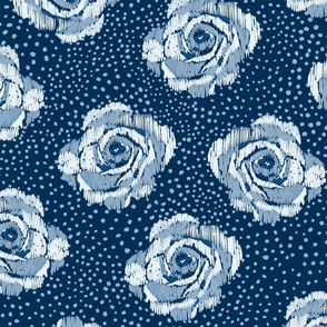 Mini ikat blue roses on Classic blue with ice blue spots