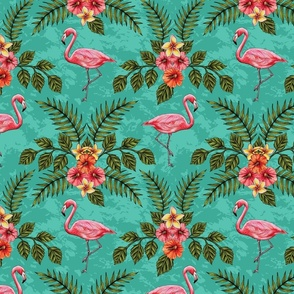 Flamingos & Flowers Pattern w/ Plumeria and Hibiscus