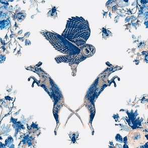 Owl Fox Blue Floral