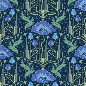 art nouveau poppy blue wallpaper