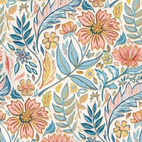 Soft Peach and Blue Art Nouveau Floral small