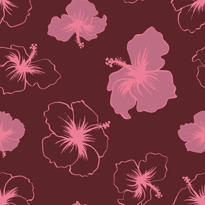 Hibiscus - Burgundy and Pink