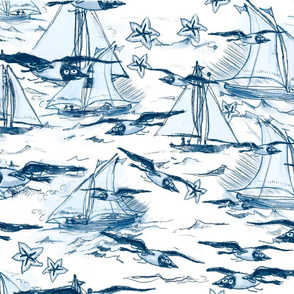 Breezy sailboats and gulls
